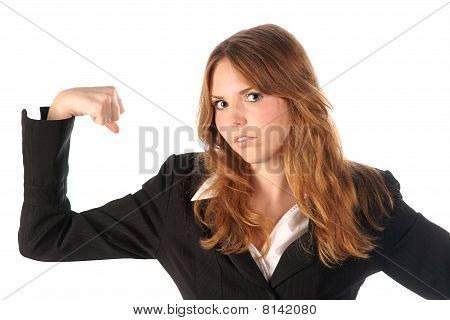Strong woman. Portrait on white background