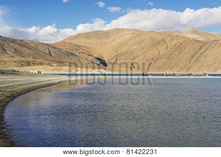 Scenic view blue lake and mountain background at Pangong Lake ,India - September 2014