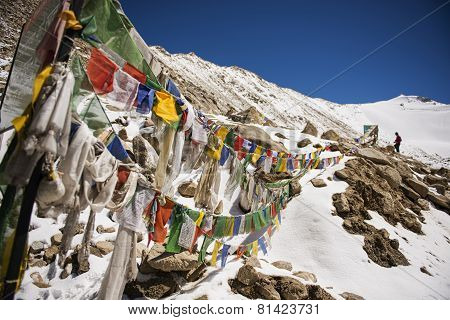 Prayer flags at Chang La Pass ,India