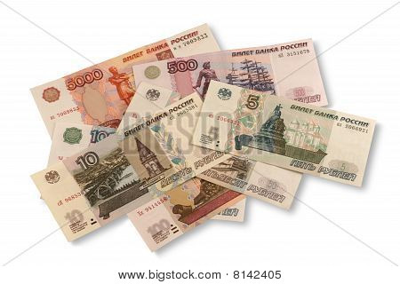 Russian roubles. Different banknotes on white background