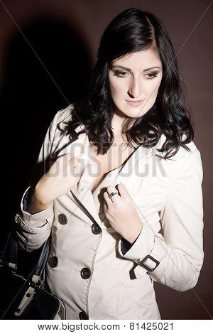 Beautiful Woman Dressed In  Coat