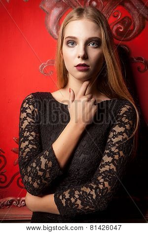 Girl On Red Vintage Wall