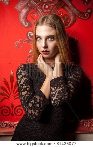 Portrait Of Sensual Girl In Black Dress