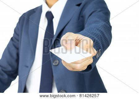 Businessman Hold Business Card Or White Card In 45 Degree View Isolated On White Background