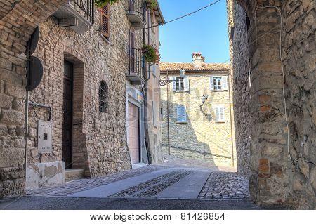 Zavattarello, old city view. Color image