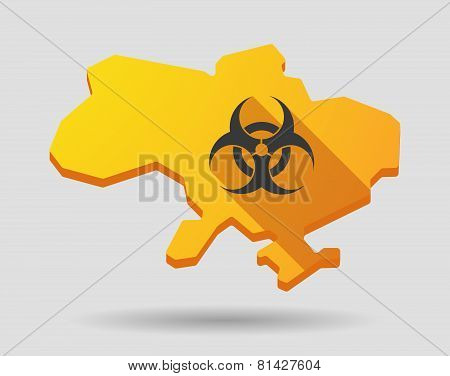Ukraine Green Map Icon With A Biohazard Sign