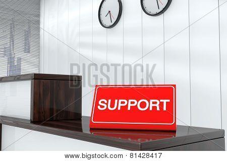 Support Sign Plate 3D Render Interior