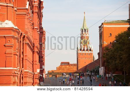 Spasskaya Tower, Lenin's Mausoleum  And People Walking