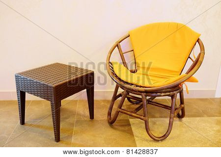 Interior of spa salon waiting room