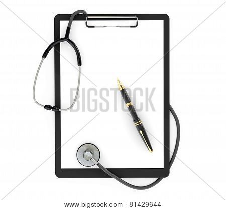 Medicine Concept. Clipboard With Stethoscope And Pen