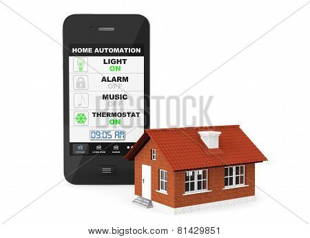 Home Automation Concept. Mobile Phone And House