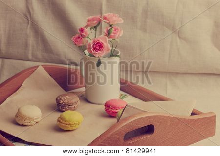 Rose And Colored Macaroon