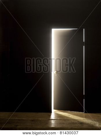 DARKENED ROOM DOOR OPENING WITH FLARE