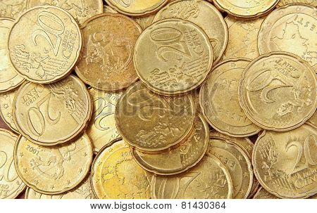 Pile Of 20 Cents Euro Coins