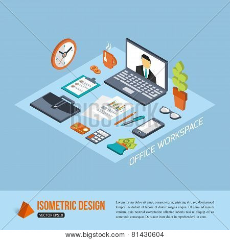Office workplace. Isometric design. Business background with flat isometric icons and place for text