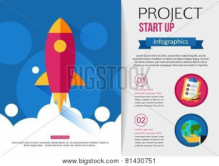 Business start up rocket infographics.