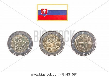 Collection Of Commemorative Coins Of Slovakia