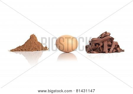 Cocoa pasta ingredients, cocoa, egg on white background