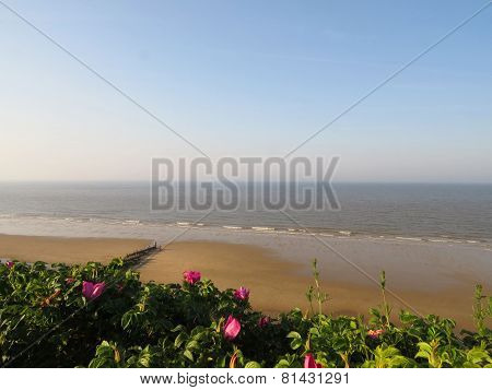 Panoramic view of Mundesley Beach.