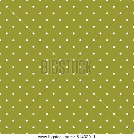 Tile spring vector pattern with white polka dots on green background.