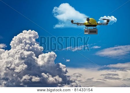 3d image of drone in the sky