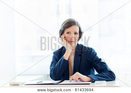 Thoughtful Businesswoman Staring Pensively Ahead