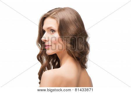 Back shot portrait of beautiful woman