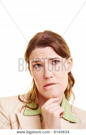 Businesswoman Biting Her Lips
