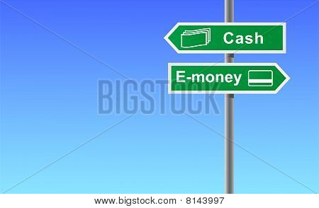 Arrows cash money on sky background.