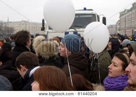 MOSCOW, RUSSIA - DECEMBER 10, 2011: Anti-government opposition rally on Bolotnaya Square in Moscow
