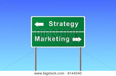 Sign strategy marketing on sky background.