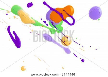 close up of color splash isolated on white