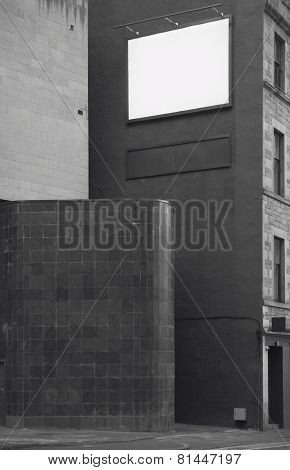 Building Facade With Advertising Poster, Blank Space