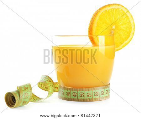 Dietary orange cocktail with centimeter isolated on white