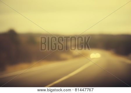 Road track and Cars headlights Background Blurred Travel concept