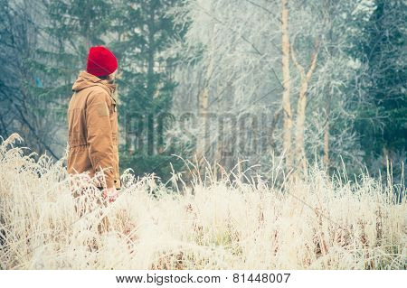 Young Man walking alone outdoor
