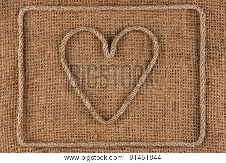 Heart Made Of Rope On Burlap