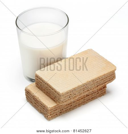 Wafer And A Glass Of Milk