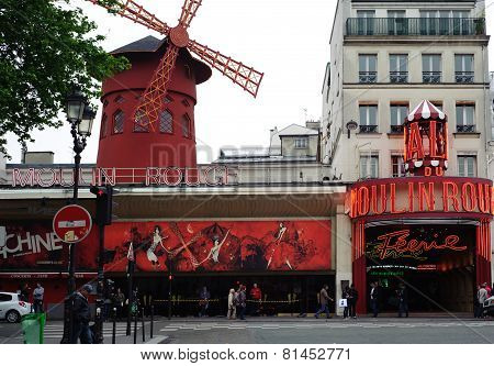 Paris, France - May 21: Moulin Rouge. Advertising Cabaret Show On Facade Of Moulin Rouge, Famous Cab