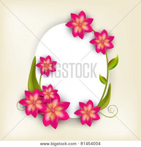 Illustration of a frame in oval shape decorated with shiny pink and golden flowers with green leaves and space for your message.