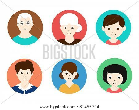 Colorful set of smiling family avatars like grandfather, grandmother, mother, father and children on white background.