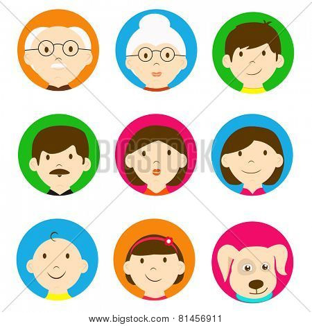 Set of family characters with grandfather, grandmother, father, mother, little kids and pet dog on white background.