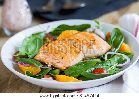 Salmon With Orange And Spinach Salad