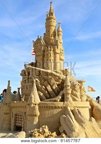 Atlantic City,NJ/USA-July 28,2014: Sand sculpting competition has evolved into a major performing arts attraction in Atlantic City, NJ. This piece of sand art was made by American Rich Varano.