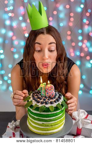 Girl with happy birthday cake