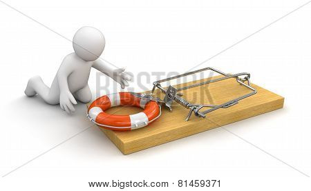 Man and Mousetrap with Lifebuoy (clipping path included)
