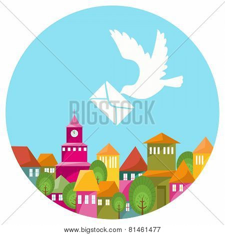 Colorful Town And White Dove With Message