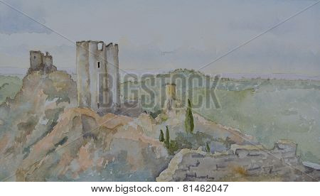 Watercolour of the 4 Castles at Lastours Languedoc Roussillon
