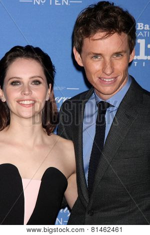 SANTA BARBARA - JAN 29:  Felicity Jones, Eddie Redmayne at the Santa Barbara International Film Festival - Cinema Vanguard Award at a Arlington Theater on January 29, 2015 in Santa Barbara, CA