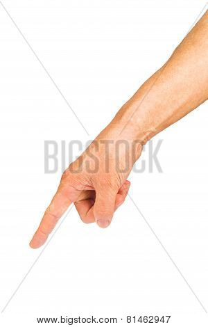 Man hand pointing or touching isolated on white